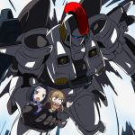 2girls black_hair blonde_hair brown_eyes carrying chibi coat coppelion grin gundam gundam_wing m_o_(prftz) mecha multiple_girls open_mouth ozu_kanon ozu_shion pointing scarf shirt short_sleeves smile tallgeese violet_eyes white_shirt