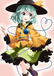 1girl :d aqua_eyes aqua_hair black_footwear black_headwear blouse boots collared_shirt eyeball feet_out_of_frame frilled_shirt_collar frilled_skirt frilled_sleeves frills green_skirt hair_between_eyes hat hat_ribbon heart heart_of_string highres komeiji_koishi long_sleeves looking_away medium_hair open_mouth pink_background ribbon round_teeth ruu_(tksymkw) shirt skirt smile solo standing teeth third_eye touhou wavy_hair wide_sleeves yellow_blouse yellow_ribbon