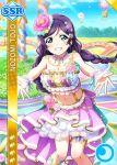 blush character_name dress green_eyes long_hair love_live!_school_idol_festival love_live!_school_idol_project purple_hair smile toujou_nozomi twin_braids