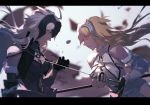 2girls ahoge armor banner blonde_hair chain fate/grand_order fate_(series) headpiece jeanne_d'arc_(alter)_(fate) jeanne_d'arc_(fate) jeanne_d'arc_(fate)_(all) letterboxed long_hair multiple_girls stabbing sword weapon white_hair wind yellow_eyes zanyak
