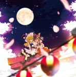 2girls ahoge apron ascot bangs blonde_hair blurry_foreground boots bottle bow braid brown_hair closed_eyes commentary_request detached_sleeves frilled_bow frills full_moon hair_bow hair_tubes hakurei_reimu hat highres kirisame_marisa lantern long_hair moon multiple_girls neck_ribbon night nontraditional_miko paper_lantern petals poprication puffy_short_sleeves puffy_sleeves red_bow ribbon ribbon-trimmed_sleeves ribbon_trim sake_bottle shirt short_sleeves torii touhou tree vest waist_apron white_shirt wide_sleeves witch_hat yellow_eyes