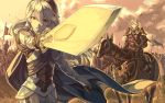 1boy 1girl armor black_hairband brown_eyes cape female_my_unit_(fire_emblem_if) fire_emblem fire_emblem_if flag floating_hair grey_cape hair_between_eyes hairband heterochromia holding holding_sword holding_weapon horse long_hair looking_at_viewer marks_(fire_emblem_if) mooncanopy my_unit_(fire_emblem_if) open_mouth outdoors red_eyes riding shoulder_armor silver_hair spaulders sword very_long_hair weapon