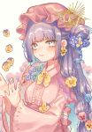 1girl bangs blue_flower blue_ribbon breasts commentary_request crescent crescent_hair_ornament dress eyebrows_visible_through_hair flower hair_bun hair_flower hair_ornament hair_ribbon hat highres long_hair long_sleeves looking_at_viewer mob_cap mokokiyo_(asaddr) patchouli_knowledge pink_dress pink_headwear purple_hair purple_nails ribbon sidelocks simple_background small_breasts smile solo touhou upper_body violet_eyes white_background wide_sleeves yellow_flower