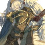 1boy 1girl black_gloves black_hairband blue_cape cape crying crying_with_eyes_open deep_wound female_my_unit_(fire_emblem_if) fire_emblem fire_emblem_if floating_hair gloves hair_between_eyes hair_ribbon hairband hug injury long_hair mooncanopy my_unit_(fire_emblem_if) pointy_ears ponytail red_eyes red_ribbon ribbon shoulder_armor silver_hair simple_background takumi_(fire_emblem_if) tears very_long_hair white_background