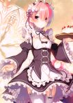 1girl absurdres apron bangs blush breasts cake closed_mouth dress fingernails food garter_straps hair_between_eyes hair_ornament highres holding maid maid_apron maid_headdress medium_breasts pink_hair ram_(re:zero) re:zero_kara_hajimeru_isekai_seikatsu red_eyes ribbon ribbon_trim scan shiny shiny_hair short_hair simple_background solo thigh-highs toosaka_asagi white_legwear wide_sleeves x_hair_ornament zettai_ryouiki