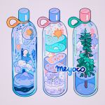 bottle clouds constellation crescent_moon floating grey_background liquid meyoco moon mountain no_humans original partially_submerged plant seashell shell simple_background skull snowman sparkle star transparent tree