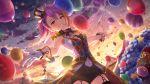 blush dress idolmaster_million_live!_theater_days long_hair maihama_ayumu night pink_eyes pink_hair smile wink