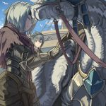 2girls androgynous berka_(fire_emblem_if) bird blue_hair blue_sky brown_eyes closed_eyes closed_mouth fire_emblem fire_emblem_if from_below gloves green_headband grey_gloves hair_between_eyes headband mooncanopy multiple_girls oboro_(fire_emblem_if) outdoors pegasus short_hair sky standing