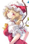 1girl :q bangs blonde_hair blush bow bowtie breasts colored_eyelashes commentary_request covered_nipples crystal darjeeling_(reley) eyebrows_visible_through_hair flandre_scarlet hat hat_ribbon head_tilt highres long_hair looking_at_viewer medium_breasts mob_cap one_side_up puffy_short_sleeves puffy_sleeves red_eyes red_ribbon red_skirt red_vest ribbon shirt short_sleeves sidelocks simple_background skirt skirt_set solo tongue tongue_out touhou upper_body vest white_background white_headwear white_shirt wings yellow_bow yellow_neckwear