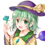 1girl :d arm_up blouse blue_flower blue_rose breasts collarbone commentary_request eyebrows_visible_through_hair flower frilled_shirt_collar frilled_sleeves frills green_eyes green_hair hair_between_eyes hat hat_ribbon highres holding holding_flower ikazuchi_akira komeiji_koishi long_sleeves looking_at_viewer medium_breasts open_mouth pinky_out ribbon rose short_hair simple_background smile solo standing third_eye touhou upper_body white_background yellow_blouse