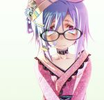 1girl bandaid bandaid_on_face bangs blush close-up collar collarbone eyebrows_visible_through_hair face freckles glasses hair_between_eyes hair_ornament hairclip hat highres japanese_clothes kimono looking_at_viewer obi original purple_hair red_eyes sakuya_tsuitachi sash short_hair solo white_background