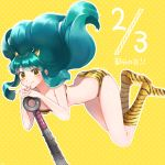 1girl animal_print bikini club full_body green_hair hands_together hitsuji_kumo horns kneehighs long_hair looking_at_viewer lum oni polka_dot polka_dot_background print_bikini print_legwear setsubun sidelocks smile solo spiked_club swimsuit tiger_print urusei_yatsura very_long_hair weapon yellow_background
