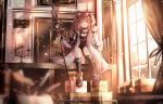 1girl :d absurdres angelina_(arknights) animal_ear_fluff animal_ears arknights bangs black_choker black_footwear black_legwear black_shirt black_shorts blurry blurry_background blurry_foreground boots box brown_hair candelabra candle cardboard_box choker collarbone commentary_request curtains day depth_of_field eyebrows_visible_through_hair hair_between_eyes hairband highres holding holding_spear holding_weapon huge_filesize indoors jacket junpaku_karen kneehighs long_hair long_sleeves looking_at_viewer open_clothes open_jacket open_mouth polearm red_eyes red_hairband revision shirt short_shorts shorts sitting skindentation sleeves_past_wrists smile solo spear sunlight twintails weapon white_jacket window