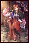 1girl alternate_costume bangs black_border black_cape blue_eyes border braid cape cherry_blossom_print cherry_blossoms chinese_clothes collarbone commentary_request fii_fii_(feefeeowo) floral_print hair_ornament hair_rings hanfu head_tilt highres hong_meiling light_blush light_smile long_hair long_skirt looking_at_viewer parted_bangs petals redhead shirt side_braid skirt solo touhou very_long_hair white_shirt