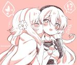 !? 2girls armor blush closed_eyes eromame female_my_unit_(fire_emblem_if) fire_emblem fire_emblem_if from_side hairband heart heart-shaped_pupils kiss long_hair monochrome multiple_girls my_unit_(fire_emblem_if) open_mouth pink_background sakura_(fire_emblem_if) short_hair simple_background symbol-shaped_pupils twitter_username upper_body yuri