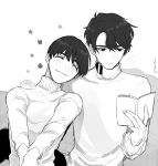 ... 2boys ^_^ absurdres animal animal_on_shoulder blush book closed_eyes flower_(symbol) greyscale hamster head_on_another's_shoulder highres lee_seung-gil male_focus monochrome multiple_boys phichit_chulanont reading smile spoken_ellipsis spot_color sweater torisan_(rinlen1827) turtleneck turtleneck_sweater twitter_username yaoi yuri!!!_on_ice