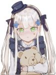 1girl bangs blush dress facial_mark girls_frontline green_eyes hat hk416_(girls_frontline) long_hair looking_at_viewer nlitz silver_hair simple_background solo stuffed_animal stuffed_toy teddy_bear white_background