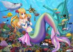 1girl blonde_hair blue_eyes breasts crab fish graphite_(medium) jewelry long_hair medium_breasts mermaid monster_girl navel nekuraneko original pendant ship solo tortoise traditional_media turtle underwater watercraft