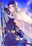 1girl ainu_clothes asirpa blue_eyes blue_sky bow_(weapon) day floating_hair golden_kamuy grin highres holding holding_bow_(weapon) holding_staff holding_weapon long_hair long_sleeves looking_at_viewer outdoors silver_hair sky smile solo sou_230 staff standing weapon