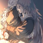 1boy 1girl arms_behind_back black_gloves black_shirt couple female_my_unit_(fire_emblem_if) fire_emblem fire_emblem_if girl_on_top gloves long_hair long_sleeves mooncanopy my_unit_(fire_emblem_if) open_mouth red_ribbon restrained ribbon shiny shiny_hair shirt silver_hair takumi_(fire_emblem_if) very_long_hair
