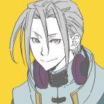 1boy bangs coat code_geass collar grey_hair headphones long_hair looking_at_viewer lowres mao_(code_geass) pink_eyes pixel_art smile solo yellow_background