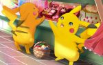 basket berries cake candy chocolate chocolate_heart food gen_1_pokemon heart hitsuji_kumo macaron open_mouth oran_berry pecha_berry pikachu pokemon pokemon_(creature) red_skirt skirt smile