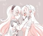 2girls aqua_(fire_emblem_if) armor blush dress eromame female_my_unit_(fire_emblem_if) fire_emblem fire_emblem_if from_side grey_background hairband hands_on_another's_face long_hair monochrome multiple_girls my_unit_(fire_emblem_if) parted_lips pointy_ears simple_background twitter_username upper_body veil yuri