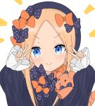 >:) 1girl abigail_williams_(fate/grand_order) atsumisu bangs black_bow black_dress black_headwear blonde_hair blue_eyes blush bow closed_mouth commentary_request double_v dress eyebrows_visible_through_hair fate/grand_order fate_(series) forehead hair_bow hands_up hat highres long_hair long_sleeves multiple_hair_bows object_hug orange_bow parted_bangs polka_dot polka_dot_bow simple_background sleeves_past_wrists smile solo stuffed_animal stuffed_toy teddy_bear upper_body v v-shaped_eyebrows white_background