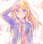 1girl arm_up blazer blonde_hair blue_eyes blush collared_shirt floating_hair hair_between_eyes jacket long_hair long_sleeves looking_at_viewer miyazono_kawori necktie open_blazer open_clothes open_jacket orange_neckwear school_uniform shati shigatsu_wa_kimi_no_uso shirt smile solo striped striped_neckwear upper_body white_shirt wing_collar