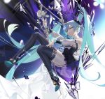 1girl aqua_hair aqua_nails bangs bare_shoulders black_legwear black_skirt closed_mouth commentary_request crystal detached_sleeves hair_between_eyes hatsune_miku high_heels highres long_hair microphone ohisashiburi skirt solo thigh-highs twintails violet_eyes vocaloid