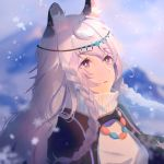 1girl animal_ear_fluff animal_ears arknights bangs blurry blurry_background blush braid bright_pupils brown_eyes circlet commentary_request depth_of_field eyebrows_visible_through_hair hua_ye jewelry long_hair looking_away looking_up necklace parted_lips pramanix_(arknights) snowflakes snowing solo turtleneck twin_braids upper_body very_long_hair