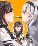 absurdres ahoge akizuki_(kantai_collection) bangs black_headband black_sailor_collar blush bodysuit breasts brown_hair closed_eyes closed_mouth clothes_writing commentary_request eyebrows_visible_through_hair food gloves grey_eyes hachimaki hair_between_eyes hair_flaps hair_ornament hairband hatsuzuki_(kantai_collection) headband heart highres kantai_collection kiritto long_hair looking_at_another medium_breasts mouth_hold multiple_girls neckerchief open_mouth pocky pocky_kiss ponytail sailor_collar school_uniform serafuku shared_food short_hair silver_hair standing suzutsuki_(kantai_collection) sweatdrop white_bodysuit yuri
