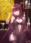 1girl bangs bare_shoulders blush breasts center_opening closed_mouth collarbone cup demmy dress drinking_glass fate/grand_order fate_(series) hair_between_eyes hair_intakes large_breasts long_hair looking_at_viewer navel purple_dress purple_hair red_eyes scathach_(fate)_(all) scathach_(fate/grand_order) smile solo wine_glass