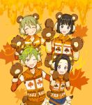 4boys :q ;d ^_^ akiyama_hayato animal_ears bear_ears bear_paws black_hair blue_eyes brown_hair closed_eyes detached_sleeves earmuffs fake_animal_ears gloves green_hair hair_intakes headset highres idolmaster idolmaster_side-m idolmaster_side-m_live_on_stage! kagura_rei leaf male_focus maple_leaf multiple_boys okamura_nao one_eye_closed open_mouth orange_background paw_gloves paws simple_background smile tongue tongue_out upper_teeth uzuki_makio vest violet_eyes wavy_hair world_tre@sure_(idolmaster)