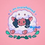 artist_name black_eyes black_hair english_text full_body gen_8_pokemon leaf looking_at_viewer meyoco no_humans pink_background pokemon pokemon_(creature) simple_background smile wooloo yellow_sclera