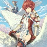 1boy 1girl arm_strap boots brown_eyes closed_mouth day detached_sleeves dress fire_emblem fire_emblem_if garter_straps gloves hair_between_eyes hinata_(fire_emblem_if) hinoka_(fire_emblem_if) holding holding_spear holding_weapon long_hair long_sleeves looking_at_viewer mooncanopy naginata outdoors pegasus pegasus_knight petals polearm ponytail red_footwear red_gloves redhead riding short_dress short_hair side_slit smile solo_focus spear thigh-highs thigh_boots weapon