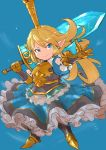 >:) 1girl armor armored_boots armored_dress bangs blonde_hair blue_background blue_dress blue_eyes boots breastplate charlotta_fenia closed_mouth commentary_request crown dress eyebrows_visible_through_hair frilled_dress frills full_body gauntlets granblue_fantasy harvin highres holding holding_sword holding_weapon long_hair mini_crown nikukaiq outstretched_arm over_shoulder pleated_dress pointy_ears puffy_short_sleeves puffy_sleeves short_sleeves smile solo standing sword sword_over_shoulder v-shaped_eyebrows very_long_hair weapon weapon_over_shoulder