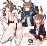 1girl ;d absurdres amiya_(arknights) animal_ears arknights ass back bangs bare_legs bare_shoulders barefoot bed_sheet black_jacket black_leotard black_skirt blue_eyes blush breasts brown_hair bunny_girl bunny_tail bunnysuit clenched_teeth detached_collar eyebrows_visible_through_hair feet frilled_skirt frills from_behind full_body gatari hair_between_eyes highres hood hooded_jacket jacket legs_up leotard long_hair long_sleeves looking_at_viewer looking_back lying miniskirt multiple_girls no_shoes on_bed on_stomach one_eye_closed open_clothes open_jacket open_mouth rabbit_ears shoes short_hair_with_long_locks shoulder_blades sideboob sidelocks skirt small_breasts smile sneakers socks soles strapless strapless_leotard tail teeth thighs toes v white_legwear wrist_cuffs