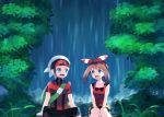 1boy 1girl :d between_legs bike_shorts black_pants black_shorts blue_eyes bow brown_hair collarbone day eye_contact hair_bow hairband hand_between_legs haruka_(pokemon) jacket long_hair looking_at_another open_mouth outdoors pants pokemon pokemon_(game) pokemon_oras red_hairband red_jacket red_shirt shirt short_shorts short_sleeves shorts shorts_under_shorts sitting sleeveless sleeveless_shirt smile striped striped_bow twintails water waterfall white_shorts yuihiko yuuki_(pokemon)