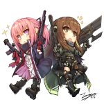2girls :< :o ar-15 assault_rifle bangs black_footwear black_gloves black_jacket black_legwear black_ribbon black_shorts blonde_hair blush boots braid brown_eyes brown_hair chibi closed_mouth commentary dated dress eyebrows_visible_through_hair girls_frontline gloves green_sweater gun hair_between_eyes hair_ribbon holding holding_gun holding_weapon jacket knee_boots long_hair long_sleeves m4_carbine m4a1_(girls_frontline) multicolored_hair multiple_girls notice_lines object_namesake open_clothes open_jacket open_mouth pantyhose pink_hair pleated_dress ponytail purple_dress red_gloves ribbed_sweater ribbon rifle shoe_soles short_shorts shorts signature simple_background single_leg_pantyhose single_thighhigh skull_print sparkle st_ar-15_(girls_frontline) streaked_hair sweater tama_yu thigh-highs very_long_hair violet_eyes weapon white_background