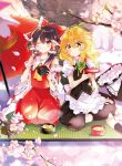 2girls apron ascot bangs black_skirt black_vest blonde_hair blurry_foreground bow braid brown_hair cherry_blossoms cup detached_sleeves green_bow hair_bow hair_tubes hakurei_reimu hat hat_bow hat_removed headwear_removed kirisame_marisa long_hair masu multiple_girls nontraditional_miko one_eye_closed oriental_umbrella outdoors petals poprication puffy_short_sleeves puffy_sleeves red_bow red_eyes red_shirt red_skirt ribbon-trimmed_sleeves ribbon_trim sakazuki seiza shirt short_hair_with_long_locks short_sleeves sid side_braid single_braid sitting skirt sleeveless sleeveless_shirt tatami touhou tree umbrella vest waist_apron witch_hat yellow_eyes yellow_neckwear