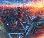 1girl black_hair blurry building cityscape clouds depth_of_field hand_up highres kenzo_093 lens_flare long_hair looking_at_viewer looking_back original red_skirt scenery skirt sky skyscraper solo star_(sky) sunset tower