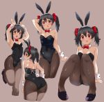 1girl animal_ears ass black_hair black_legwear black_leotard bow bowtie bunny_tail bunnysuit cowboy_shot detached_collar full_body hair_bow highres kurokawa_makoto leotard long_hair looking_at_viewer love_live! love_live!_school_idol_project multiple_views open_mouth pantyhose rabbit_ears red_bow red_eyes red_neckwear sitting strapless strapless_leotard tail twintails wrist_cuffs yazawa_nico