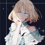 1girl :d bare_shoulders black_background blonde_hair blood blood_on_face bloody_clothes bloody_hair blue_dress blue_eyes chest_tattoo collar collarbone command_spell commentary_request detached_collar dress fate/prototype fate_(series) frilled_collar frilled_dress frills hand_on_own_cheek highres off-shoulder_dress off_shoulder open_mouth rdbka_00 sajou_manaka shade short_hair simple_background smile solo sparkle tattoo upper_body