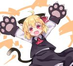 1girl :d ahoge animal_ear_fluff animal_ears arms_up ascot bangs black_skirt black_vest blonde_hair cat_ears cat_tail commentary_request eyebrows_visible_through_hair fang gloves hair_between_eyes hair_ribbon highres kemonomimi_mode kibisake long_sleeves looking_at_viewer open_mouth outstretched_arms paw_gloves paws red_eyes red_neckwear red_ribbon ribbon rumia shirt short_hair simple_background skirt skirt_set smile solo spread_arms tail touhou vest white_background white_shirt