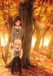 2girls absurdres arms_behind_back asaba0327 autumn_leaves black_hair black_legwear blonde_hair blush branch brown_skirt commentary forest grey_jacket head_tilt highres jacket knees_together_feet_apart leaf loafers long_hair long_sleeves maple_leaf multiple_girls nature original pantyhose pleated_skirt school_uniform shoes skirt smile squatting standing tree violet_eyes yellow_eyes