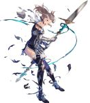 1girl armor bare_shoulders belt boots broken_armor brown_eyes brown_hair cynthia_(fire_emblem) dress fire_emblem fire_emblem:_kakusei fire_emblem_heroes full_body gauntlets highres long_hair official_art open_mouth polearm short_dress spear thigh-highs thigh_boots torn_clothes twintails weapon