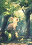commentary dappled_sunlight flower forest from_side gen_4_pokemon highres leafeon light_rays manino_(mofuritaionaka) nature no_humans pokemon pokemon_(creature) profile signature solo sunbeam sunlight symbol_commentary tree tree_stump