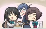 3girls ahoge bangs black_hair blazer blue_hair blunt_bangs blush bow bowtie brown_hair closed_eyes collared_shirt commentary curry curry_rice dated drooling fang feeding flying_sweatdrops food fried_rice from_behind gotland_(kantai_collection) hair_bun hair_down hair_ribbon hairband halterneck hamu_koutarou happy highres jacket kantai_collection kishinami_(kantai_collection) long_hair long_sleeves looking_back military military_uniform mole mole_under_eye multiple_girls naganami_(kantai_collection) open_mouth pink_hair remodel_(kantai_collection) ribbon rice saliva school_uniform shirt short_hair skin_fang uniform upper_body wavy_hair wavy_mouth white_hairband white_shirt