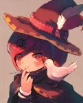 1girl absurdres animal animal_on_shoulder bangs bird blush bob_cut cloak closed_mouth commentary_request danganronpa dove finger_to_mouth food fruit hair_ornament hat hat_feather highres huge_filesize long_sleeves looking_at_viewer manino_(mofuritaionaka) new_danganronpa_v3 orange portrait red_headwear redhead short_hair signature solo swept_bangs witch_hat yumeno_himiko